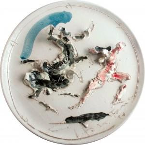 Lucio Fontana (1899-1968) Corrida piatto in ceramica con decorazione a rilievo