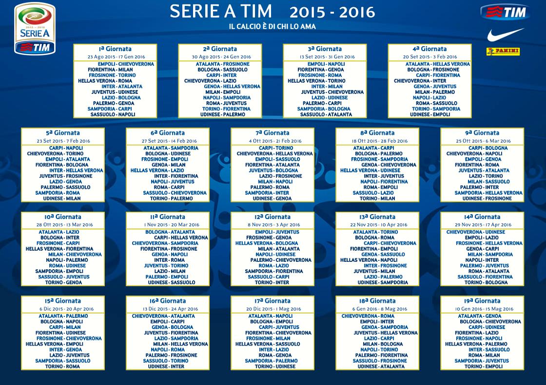Calendario Partite Calcio.Campionato Di Calcio 2015 2016 Il Calendario Luxgallery