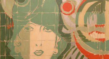 Giosetta Fioroni: Donna con cappello in un paesaggio geometrico, 1966, smalto su tela, cm.50x60