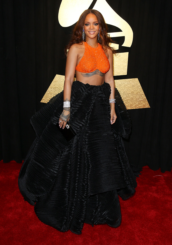 LOS ANGELES, CA - FEBRUARY 12:  Recording artist Rihanna at The 59th Annual GRAMMY Awards at STAPLES Center on February 12, 2017 in Los Angeles, California.  (Photo by Joe Scarnici/Getty Images for FIJI Water)