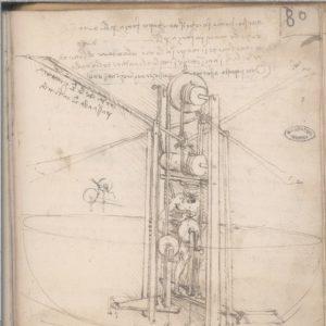 Leonardo da Vinci, Ms. B, c. 80r Vascello volante con pilota in posizione centrale