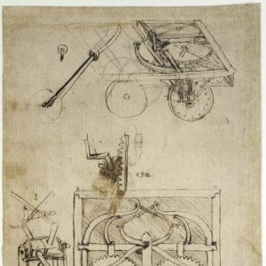Leonardo da Vinci, Codice Atlantico, c. 812r Studi per il carro semovente