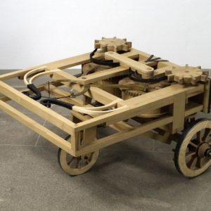 """Modello del carro semovente o """"automobile"""" di Leonardo"""