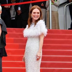 """CANNES, FRANCE - MAY 18:  Actress  Julianne Moore attends the """"Wonderstruck"""" screening during the 70th annual Cannes Film Festival at Palais des Festivals on May 18, 2017 in Cannes, France.  (Photo by George Pimentel/WireImage)"""
