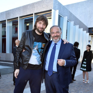 MILAN, ITALY - MAY 07:  Francesco Vezzoli and Massimo Bernardini attend a 'Private view of 'TV 70: Francesco Vezzoli Guarda La Rai' at Fondazione Prada on May 7, 2017 in Milan, Italy.  (Photo by Jacopo Raule/Getty Images for Fondazione Prada)