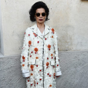 MILAN, ITALY - MAY 07:  Bianca Jagger attends a 'Private view of 'TV 70: Francesco Vezzoli Guarda La Rai' at Fondazione Prada on May 7, 2017 in Milan, Italy.  (Photo by Stefania D'Alessandro/Getty Images for Fondazione Prada)