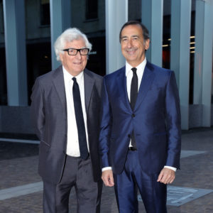 MILAN, ITALY - MAY 07:  Patrizio Bertelli and Giuseppe Sala attend a 'Private view of 'TV 70: Francesco Vezzoli Guarda La Rai' at Fondazione Prada on May 7, 2017 in Milan, Italy.  (Photo by Vittorio Zunino Celotto/Getty Images for Fondazione Prada)