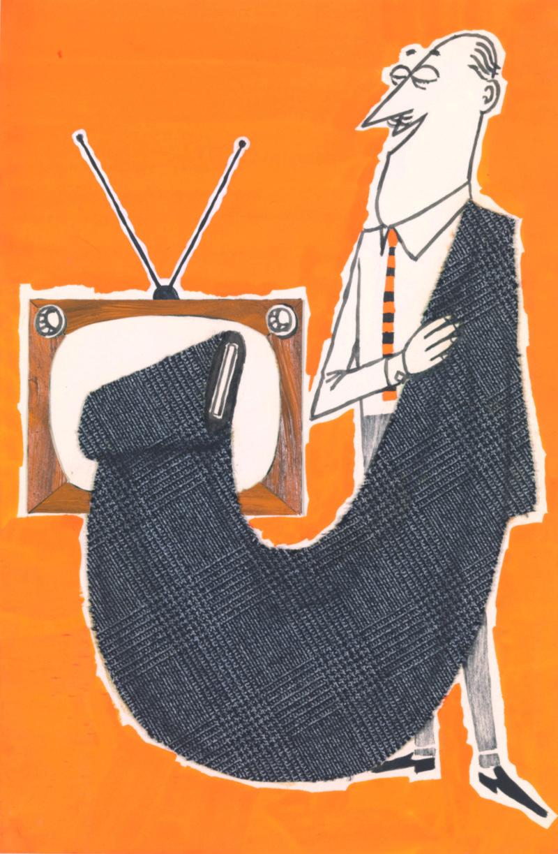 Bozzetto pubblicitario a tempera su carta con insero in tessuto Lanerossi, fine anni Cinquanta