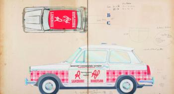 Pino Tovaglia, bozzetto a tempera per pubblicita` dinamica montata su automobile per termocoperte e tappeti - Lanerossi