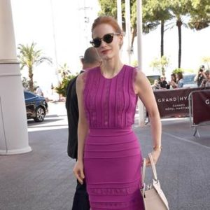 Jessica Chastain was spotted leaving the Martinez Hotel during the 70th Cannes Film Festival wearing an fuchsia sleeveless knit and lace dress cocktail dress  from the ELIE SAAB Ready-to-wear Spring-Summer 2017 collection
