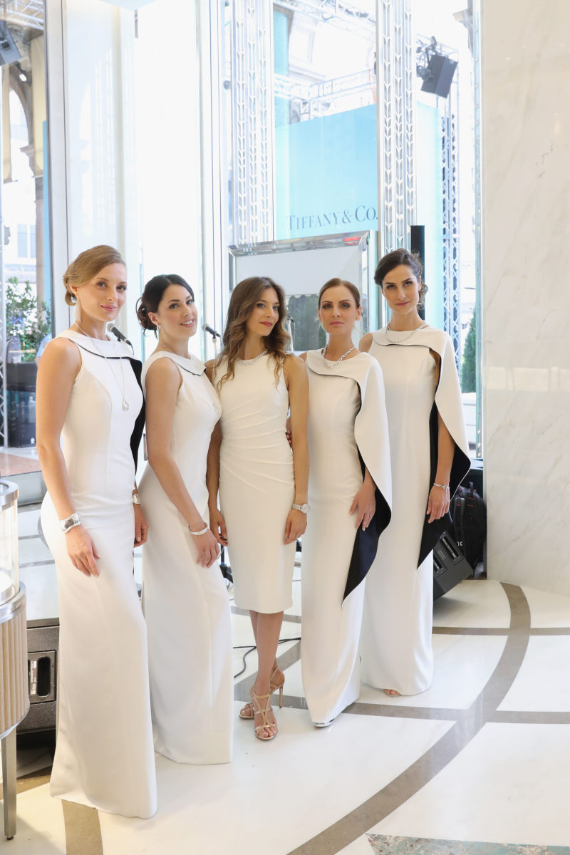 MILAN, ITALY - JULY 11: Le Div4s and Erika Lemay (C) attend the opening ceremony of the new Tiffany & Co. store in Piazza Duomo on July 11, 2017 in Milan, Italy. (Photo by Vittorio Zunino Celotto/Getty Images for Tiffany & Co.)