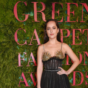 attends the Green Carpet Fashion Awards, Italia, wearing XX for the Green Carpet Challenge at Teatro Alla Scala on September 24, 2017 in Milan, Italy.