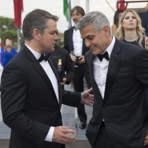 Matt Damon e George Clooney- Star Internazionali che hanno autografato la mitica Golden Jeroboam Moët & Chandon sulla terrazza del Palazzo del Cinema - Courtesy of STUDIO ROBERTA CIAPPIcommunication & marketing