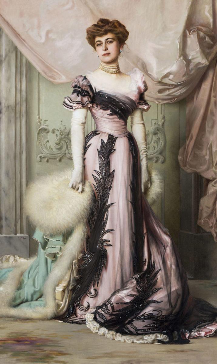 Vittorio Corcos: Ritratto di Carolina Maraini Sommaruga, 1901, olio su tela, cm 224 x 130. Roma, Fondazione per Istituto Svizzero