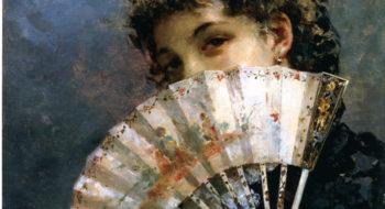 Edoardo Tofano: Il ventaglio, olio su tavola. Collezione privata, courtesy Enrico Gallerie d'arte