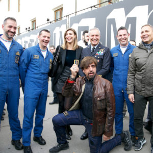 Aeronautica Militare - Valerio staffelli, Cristina Chiabotto, Generale Giorgio Baldacci e alcuni componenti delle Frecce Tricolori