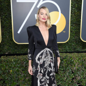 BEVERLY HILLS, CA - JANUARY 07: Actor Margot Robbie attends The 75th Annual Golden Globe Awards at The Beverly Hilton Hotel on January 7, 2018 in Beverly Hills, California.  (Photo by Venturelli/WireImage)