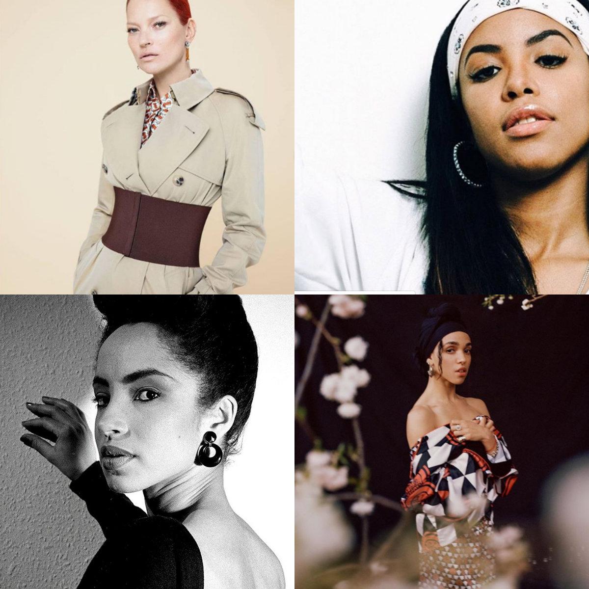 Kate Moss, Aaliyah Dana Haughton, Sade Adu e FKA Twigs