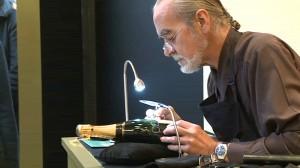Calligrafo all'Atelier Moet alla Rinascente di Milano