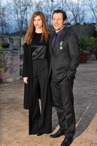 Stefano Accorsi e Bianca Vitali a Palazzo Fornese a Roma